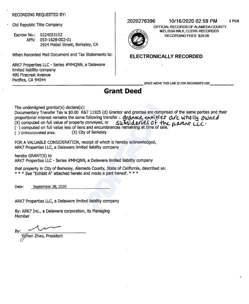Grant Deed or the Certificate of the Real Property Ownership