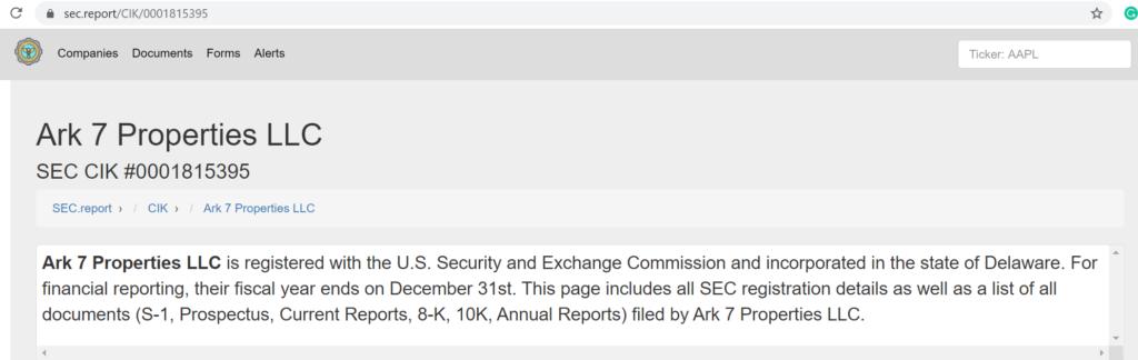 Certificate of SEC Registration